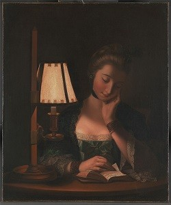 Henry Robert Morland - 'Woman Reading by a Paper Bell Shade'
