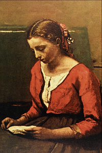Girl Reading-Jean Baptiste Camille Corot