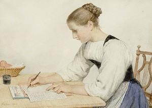Albert Anker, 'Junge Frau einen Brief schreibend'1903