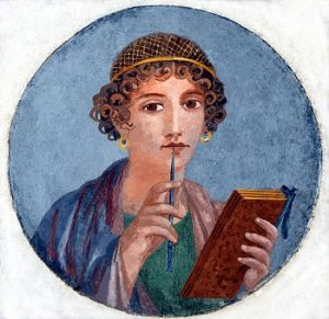 Fresco showing a woman so-called Sappho, holding writing implements, from Pompeii, Naples