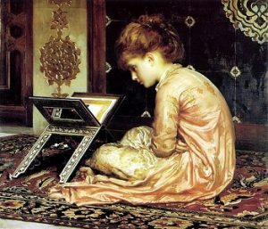 at_a_reading_desk_by_frederic_leighton